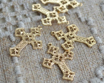 50pcs Cross Charms Drops Gold Plated 24x18mm Filigree Crosses Stamped