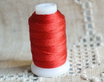 Cord Thread Red Purely Silk Spool Sizes E - FFF 92 -200 Yard Spool
