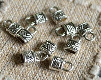 10pcs End Caps Silver Pewter 6x5mm Tube Barrel For Leather Cord End
