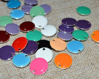 60pcs Charms Silver Plated Colored Epoxy 8mm Round Mixed Colors