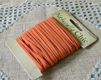 Orange Faux Suede Jewelry Cord Lace 3x1mm 9 yard Vegan  Leather Lacing