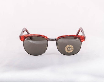 Vintage 80s 90s 1990s 1980s Tortoise with Black Rounded Horn Rimmed Clubmaster Sunglasses