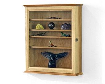 Hanging Curio Cabinet Hickory Hardwood