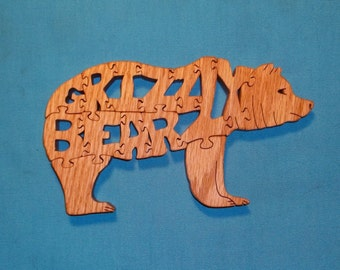 Grizzly Bear Scroll Saw Wooden Puzzle