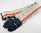 White and Orange Racer X Guitar Strap  - Vegan - Plenty of other colors to choose from