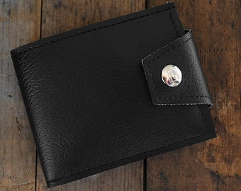 All Black Vegan Wallet- Cruelty Free Hand Made in US and A.