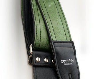Vintage Green Victorian Guitar Strap - Made of 35 Year Old  Embossed Furniture Vinyl