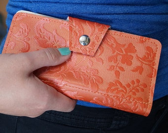 Coral and Mint Floral Victorian Womens Checkbook Wallet