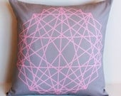 Geometric  decorative pillow cover, cushion cover, eco friendly organic cotton throw cushion 16x16 geo print 02