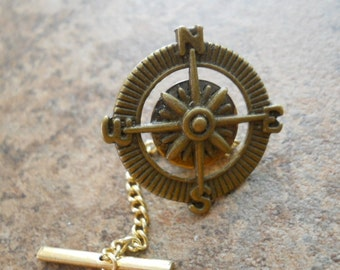 Compass Tie Tack in Antiqued Brass, Steampunk Brass Compass Tie Tack By Enchanted Lockets