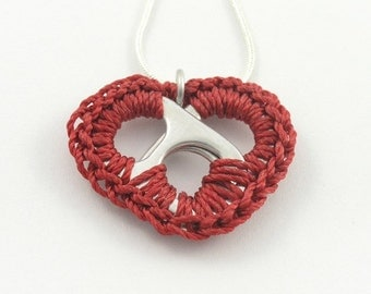 Red pop tab heart necklace - crochet heart, 16 - 18 inch silver snake chain necklace - pop tab, pull tab, ring tab, ring pull