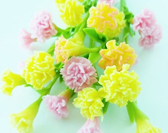Miniature Polymer Clay Flowers Supplies CARNATIONS for Dollhouse 6 bunches, assorted