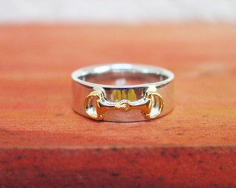 18K Gold Plate Snaffle Bit Horse Ring Sterling Silver,Equestrian Ring,Equestrian Jewelry