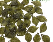 60 Acrylic Leaf Beads Charms. Matte Autumn Green Tone