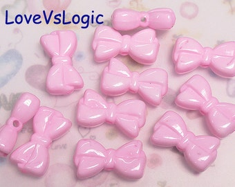 8 Bow Acrylic Charms.Pink