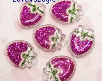 5 Puff Glitter Strawberry Lucite Charms. Glitter Dark Fuchsia Tone.
