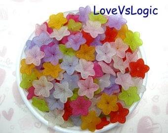 Wholesale. 300 Acrylic Flower Beads Charms.Mix Matte Colors.