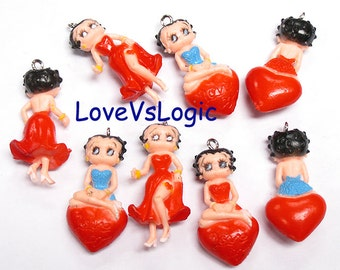 4 Girl Soft Plastic Charms. Mix Style