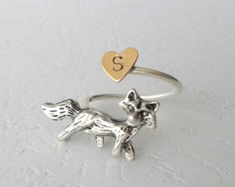 Silver fox initial personalized ring, adjustable ring, animal ring, silver ring, statement ring