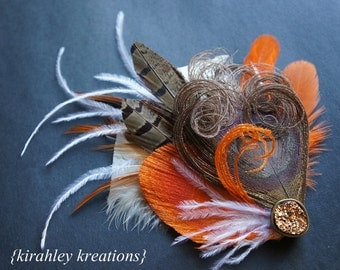 Orange Brown White Ivory Peacock Pheasant Feather Rustic Bride Bridal Bridesmaid BRONZE RORY Hair Clip Fall Wedding Fascinator Gold Stone