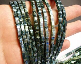 Hematite mystic aqua green - 4mm x 1mm heishi square slice beads - full strand - 400 beads - A quality - PHG17
