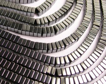 Hematite - 4mm x 2mm heishi square slice beads -  full strand - 190 beads - AA quality - CHG25