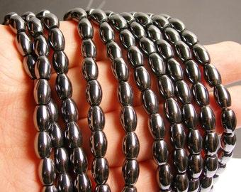 Hematite rice beads 6x9mm - full strand - 46 beads - AA quality - CHG28