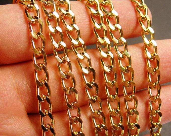 Gold chain - gold curb chain - 1 meter - 3.3 feet - aluminum chain - NTAC73