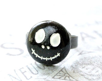 Jack Skellington Ring, Halloween Jewelry, Scary Jewelry, Scary Halloween Ring, Holiday Ring
