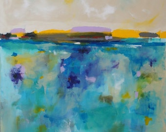 Large Colorful Abstract Landscape Original Acrylic Painting -Seaside Brights 36 x 48