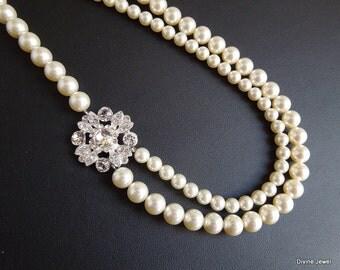 ivory swarovski pearl and crystal necklace Statement Bridal necklace Wedding Rhinestone necklace swarovski crystal and pearl COLLEEN