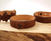 "0.75"" LEATHER TESSELLATION CUFFS - Adjustable Size Bracelet fits all for Men or Women"
