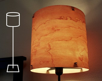 "FLOOR LAMP Real Wood Veneer 12"" -  Complete w Black Steel Base - Modern  Industrial Lighting Lampshade"