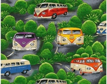 Volkswagen VW Bus with Trees Background Nutex of New Zealand Novelty Fabric
