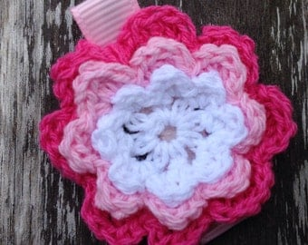 Pink and White Crochet Flower Hair Clip - No Slip Hair Bow