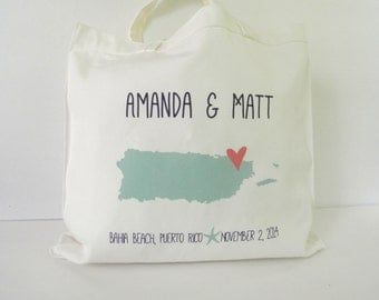 Custom Personalized State Wedding Tote Bag - wedding welcome bags, wedding favors, bridal party gifts, puerto rico