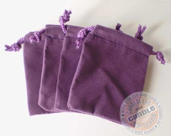 25 Purple 3x4 Flat Velour Bags - Perfect for Jewelry