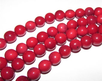 20 Red Tagua Nut Beads, 12mm Rounds Beads, Organic Beads, Vegetable Ivory Beads, Natural Beads, EcoBeads