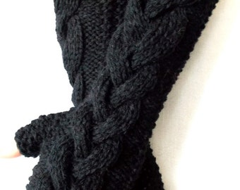 Black  Fingerless Gloves Cabled Arm Warmers Warm Chunky Women Winter Accessory