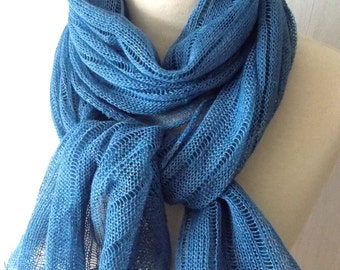 Blue Linen Scarf Shawl Knitted Natural Summer  Spring  Wrap for Women