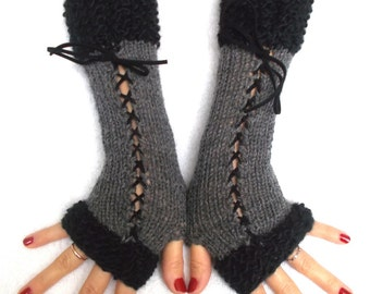 Fingerless Gloves Grey  Black Corset Arm Warmers with Suede Ribbons Victorian Style