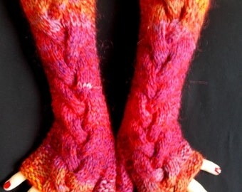 Hand Knitted Fingerless Gloves Cabled Warm Arm Warmers in Purple Violet Orange Mustard Fuchsia