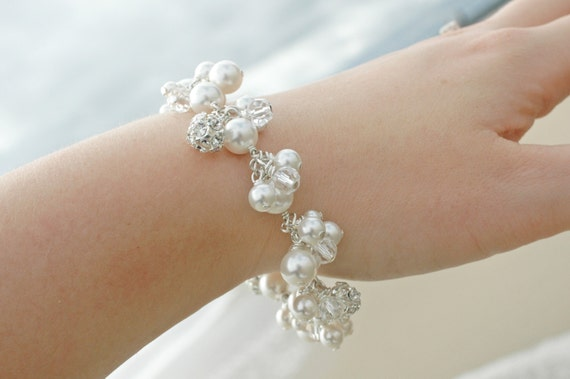 Pearl bracelet, statement bracelet, bridal accessories, swarovski crystal wedding bracelet - Cascade
