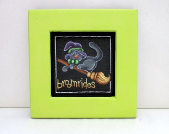 Black Halloween Cat riding a Witch's Broom, Halloween Decoration,Framed in Reclaimed Handmade Wood Frame, Hand Painte,Black Screen