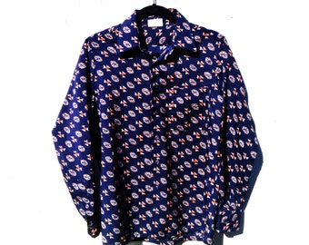 Vintage 1970's Polyester Futuristic Tribal Print Button Down by Sears Kings Road Men's Size Medium