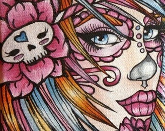 Candy - 8x8 archival   Day of the Dead Dia de los muertos Lowbrow Tattoo Home Decor art  roses  rainbow  hair
