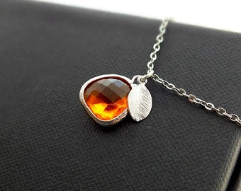 Orange Necklace, gift for women, Indian Yellow Pendant and Silver Leaf Necklace - Also Available in Gold, Tangerine, Minimalist Necklace