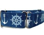 Blue Nautical Martingale Dog Collar - 1.5 Inch Width
