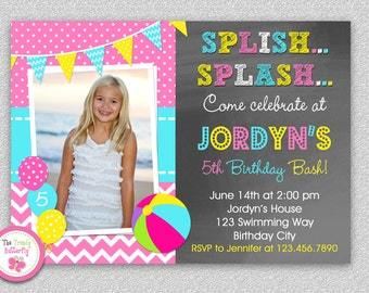 Pool Party Birthday Invitation - Pool Party Invitations