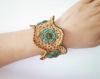 Irish Crochet Lace Jewelry (Irish Love I-d) Fiber Jewelry, Crochet Bracelet, Wide Bracelet